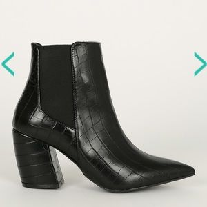 Qupid Black Croc Booties